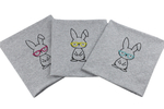 Panel - bunny with glasses - gray melange
