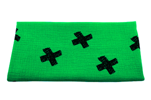 Double Gaze Cotton - crosses - green