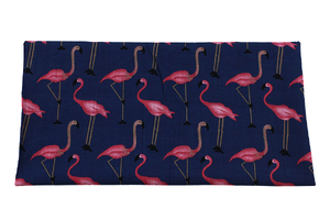 Viscose fabric - flamingos - dark navy