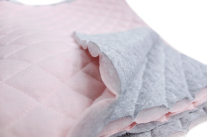 Quilted sweatshirt - two face - gray melange / powder pink