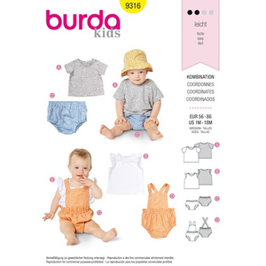 Burda - Pattern for set of blouse-top-shorts - 9316