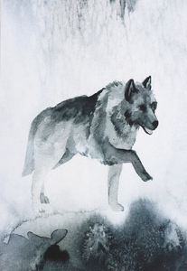 Waterproof panel for a  backpack - Watercolor Wolf
