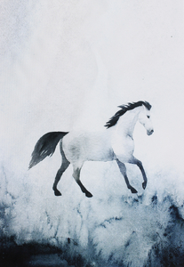 Waterproof panel for a  backpack - Watercolor horse