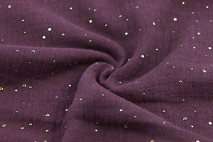 Double Gaze Cotton - golden dots - blueberry