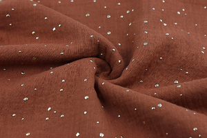 Double Gaze Cotton - golden dots - brick red