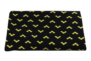 Bats on black - warm knit fabric