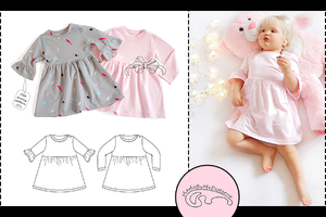Baby dress and frill sleeves dress - from 1 to 24 months - PDF Pattern