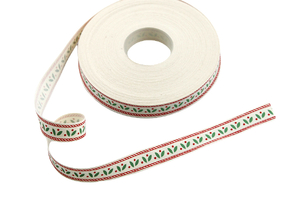 Cotton ribbon 15 mm - holly