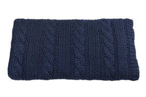Knitted panel - blanket - jeans color - braid