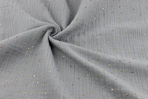 Double Gaze Cotton - golden dots - gray