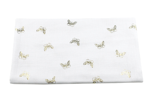 Double Gaze Cotton - golden butterflies - white