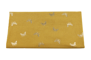 Double Gaze Cotton - golden butterflies - mustard