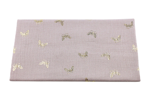 Double Gaze Cotton - golden butterflies - dirty pink