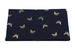 Double Gaze Cotton - gold butterflies - dark navy blue