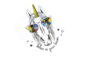 Iron-on transfer - thermo-printing - unicorn with glasses