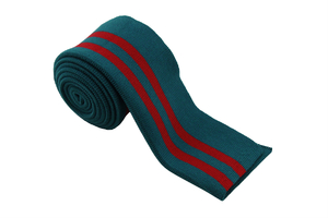 Ribbed flap - emerald with red stripes