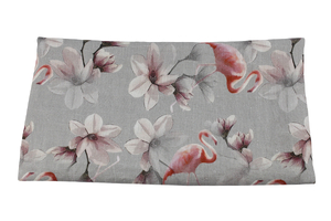 Linen fabric - flamingos and flowers