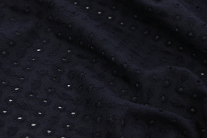 Embroidered cotton fabric - circles - dark navy blue