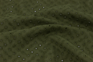 Embroidered cotton fabric - circles - olive