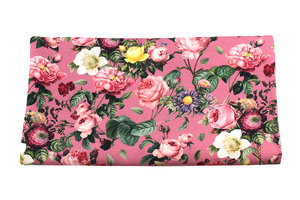 Bamboo fabric - flowery garden on pink