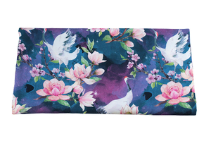 Bamboo fabric - cranes in flowers