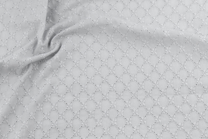 Embroidered cotton fabric - openwork mesh - gray