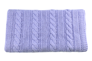 Knitted panel - blanket - baby blue - braid