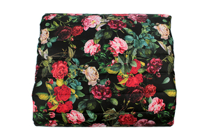 Flowery garden on black - quilted orthalion
