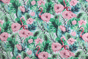 Fabric for picnic mats - pastel flamingos in flowers