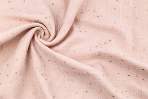 Double Gaze Cotton - golden dots - powder pink