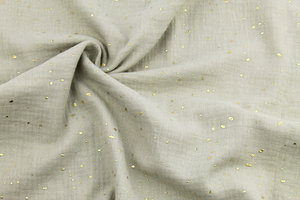 Double Gaze Cotton - golden dots - cool beige