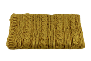Knitted panel - blanket - mustard - braid