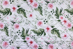 Fabric for picnic mats - flowers in leaves