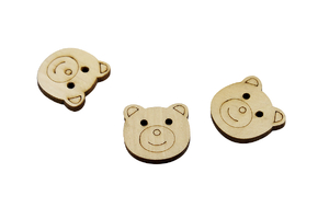 Wooden button - Teddy bear