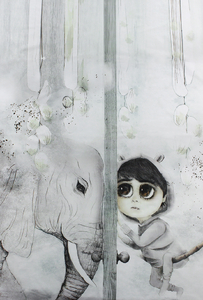 Blank panel  - Mojo Graffi - Tilo with an elephant