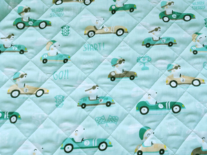 Fabric for picnic mats - rabbits in cars