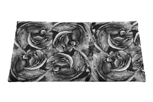 Linen fabric - black and white roses