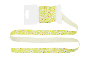 Cotton ribbon 15 mm - Flowers on yellow