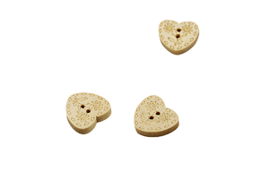 Wooden button - Heart - 17 mm