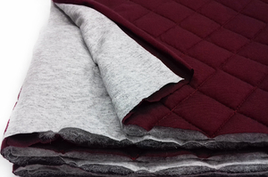 Quilted jersey - two face - gray melange / burgundy