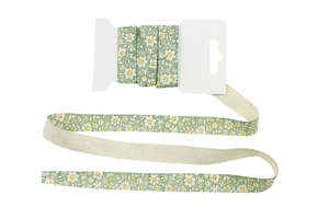 Cotton ribbon 15 mm - Flowers on dirty mint