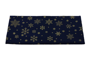 Golden snowflakes on dark navy blue