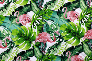 Fabric for picnic mats - flamingos in the leaves