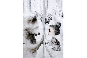 Waterproof panel for a work carrier - Mojo Graffi collection - a girl with a teddy bear