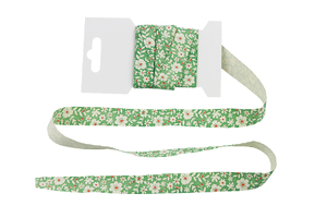 Cotton ribbon 15 mm - Flowers on green
