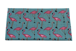 Viscose fabric - flamingos - dirty blue