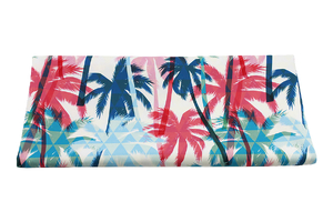 Fabric for swimming shorts - blue and red palms