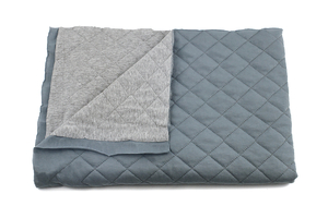 Quilted sweatshirt - two face - gray melange / dirty blue
