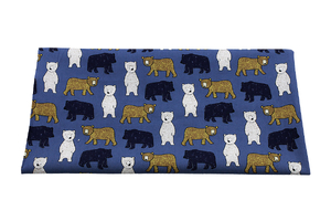 Cotton clothing - poplin - Colorful teddy bears on navy blue