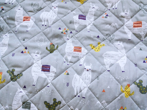 Fabric for picnic mats - llama on gray